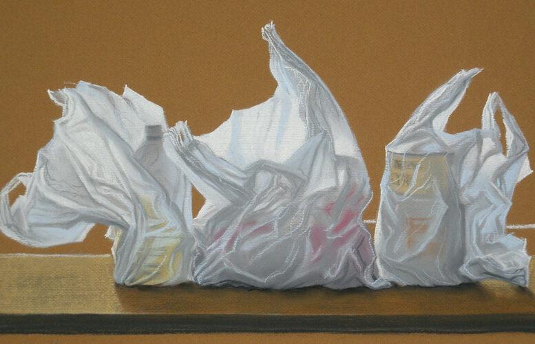 Secret Housewives Business-- Pastel. Modern still life painting by Australian artist Chris Hundt. Top artist for quirky art