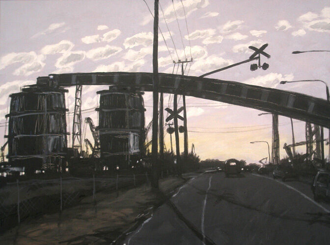 Industrial Landscape. Landscape painting. Australian landscape paintings by Chris Hundt. Top artist for quirky art