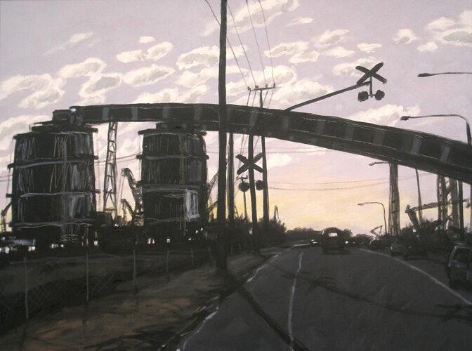 Industrial Landscape. Landscape painting. Australian landscape paintings by Chris Hundt. Top artist for quirky art
