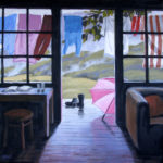 After the Rain--Acrylic on Canvas. Modern still life painting by Australian artist Chris Hundt. Top artist for quirky art & narrative art. One of the modern Australian female artists & Australian painters.