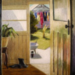 Back Door-- Pastel. Modern still life painting by Australian artist Chris Hundt. Top artist for quirky art & narrative art. One of the modern Australian female artists & Australian painters.