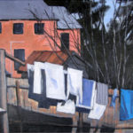 Backyard line No. 1--- Acrylic on Canvas. Modern still life painting by Australian artist Chris Hundt. Top artist for quirky art & narrative art. One of the modern Australian female artists & Australian painters.