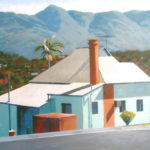 Bonview--Acrylic on Canvas. Landscape painting. Australian landscape paintings by Chris Hundt. Top artist for quirky art & narrative art. One of the modern Australian female artists & Australian painters.
