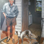Harold and his Dog--Acrylic on Canvas. Modern still life painting by Australian artist Chris Hundt. Top artist for quirky art & narrative art. One of the modern Australian female artists & Australian painters.