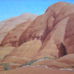 TerraCotta Katatjuta---Acrylic on Canvas. Desert Landscape painting. Australian landscape paintings by Chris Hundt. Top artist for quirky art & narrative art. One of the modern Australian female artists & Australian painters.