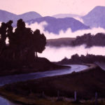 Neon Mists---Oil on Canvas. Landscape painting. Australian landscape paintings by Chris Hundt. Top artist for quirky art & narrative art. One of the modern Australian female artists & Australian painters.
