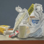 Rice Foil Chum--- Pastel on Canson paper. Modern still life painting by Australian artist Chris Hundt. Top artist for quirky art & narrative art. One of the modern Australian female artists & Australian painters.