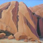 Rock Skirts--- Oil on Canvas. Desert Landscape painting. Australian landscape paintings by Chris Hundt. Top artist for quirky art & narrative art. One of the modern Australian female artists & Australian painters.