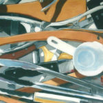 Utensil Drawer Contents--Acrylic on Canvas. Modern still life painting by Australian artist Chris Hundt. Top artist for quirky art & narrative art. One of the modern Australian female artists & Australian painters.