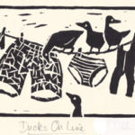 Ducks on Line-- Linocut. Modern still life painting by Australian artist Chris Hundt. Top artist for quirky art & narrative art. One of the modern Australian female artists & Australian painters.